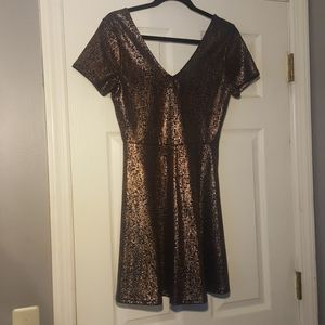 Navy blue & Gold shiny dress NWOT